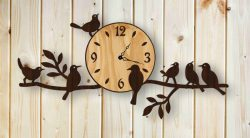 wall clock and nightingale birds for Laser cut CNC