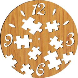 wall clock with puzzle pieces  file cdr and dxf free vector download for Laser cut plasma