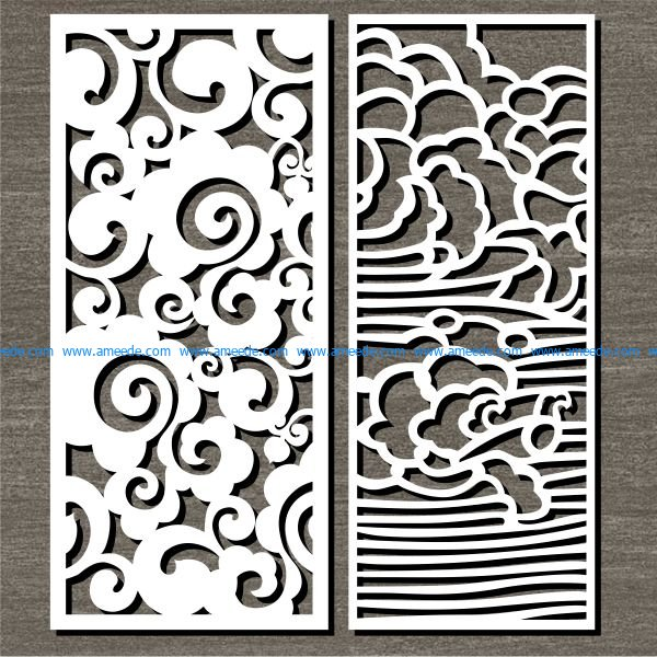 wavy bulkhead file cdr and dxf free vector download for Laser cut CNC