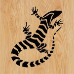 white striped lizard file cdr and dxf free vector download for print or laser engraving machines