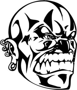 wicked face file cdr and dxf free vector download for printers or laser engraving machines
