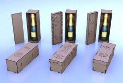 wooden case for wine bottles file cdr and dxf free vector download for Laser cut CNC