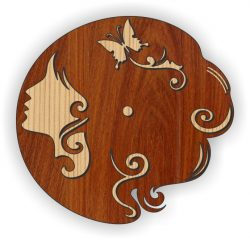 young woman's wall clock file cdr and dxf free vector download for Laser cut Plasma