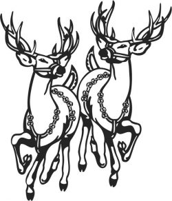Double reindeer file cdr and dxf free vector download for print or laser engraving machines