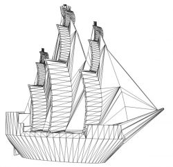 3D illusion led lamp Caribbean Pirate Ship free vector download for laser engraving machines