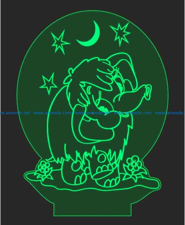 3D illusion led lamp Elephants free vector download for laser engraving machines