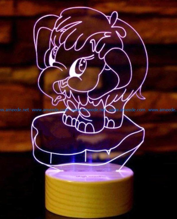 3D illusion led lamp Funny elephants file cdr and dxf free vector download for laser engraving machines
