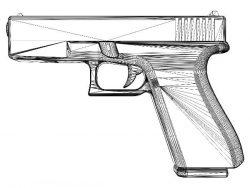 3D illusion led lamp Gun free vector download for laser engraving machines