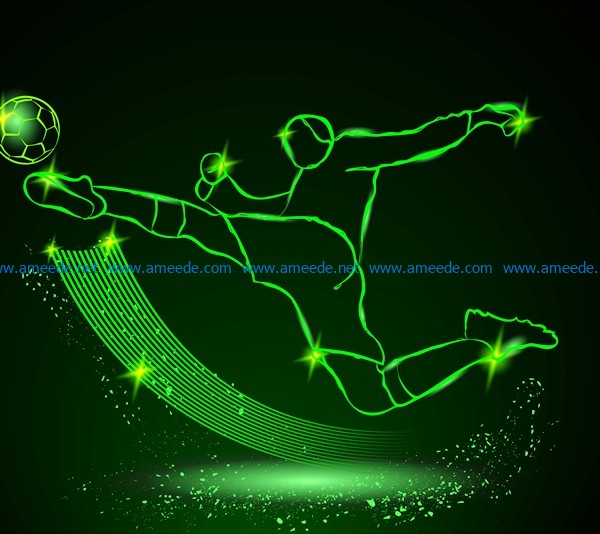 3D illusion led lamp Kick the ball free vector download for laser engraving machines