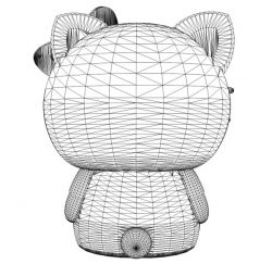 3D illusion led lamp Kitty back free vector download for laser engraving machines