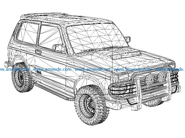 3D illusion led lamp Lada Niva free vector download for laser engraving machines