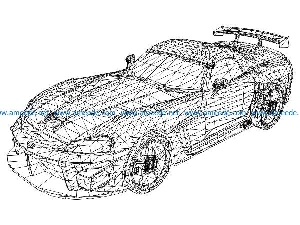 3D illusion led lamp McLaren super car free vector download for laser engraving machines