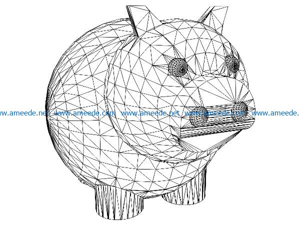3D illusion led lamp Pig Piggy Bank free vector download for laser engraving machines
