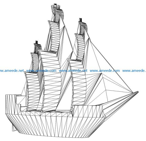 3D illusion led lamp Pirate Ship Model free vector download for laser engraving machines