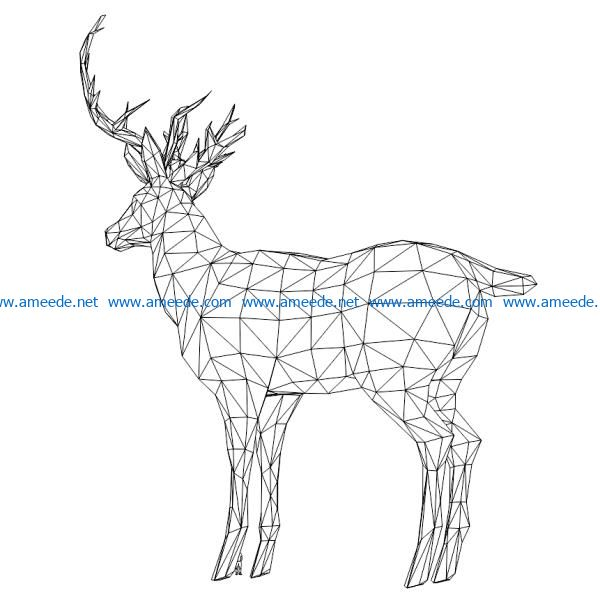 3D illusion led lamp Reindeer free vector download for laser engraving machines