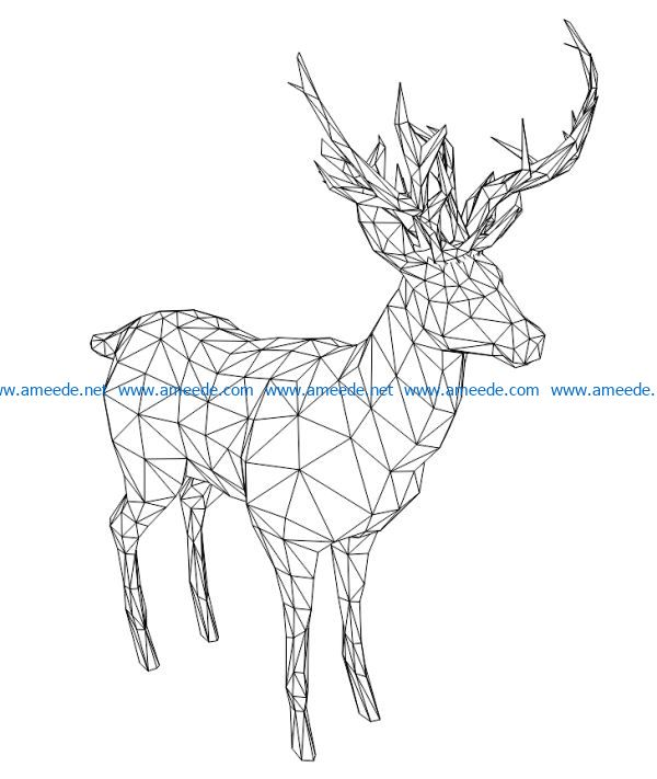 3D illusion led lamp Santa's reindeer free vector download for laser engraving machines