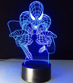 3D illusion led lamp Spiderman file cdr and dxf free vector download for laser engraving machines