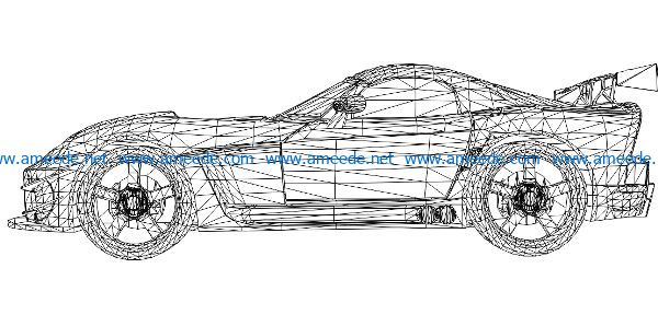 3D illusion led lamp Supercar free vector download for laser engraving machines