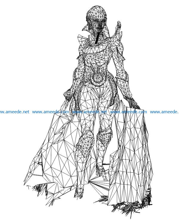 3D illusion led lamp Warrior woman free vector download for laser engraving machines