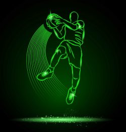 3D illusion led lamp basketball player with ball  free vector download for laser engraving machines