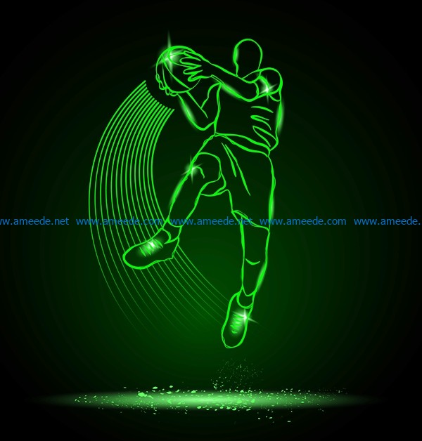 3D illusion led lamp basketball player with ball file cdr and dxf free vector download for laser engraving machines