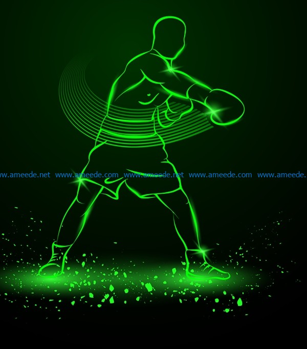 3D illusion led lamp boxer player with ball free vector download for laser engraving machines