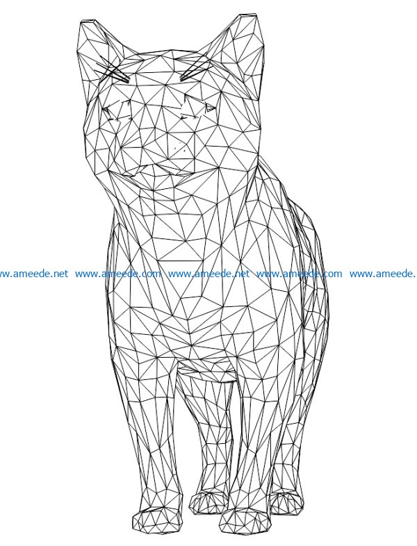 3D illusion led lamp cute cat free vector download for laser engraving machines