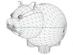 3D illusion led lamp cute pig free vector download for laser engraving machines