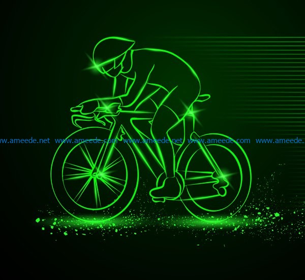 3D illusion led lamp cycle racing free vector download for laser engraving machines