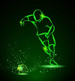 3D illusion led lamp football player free vector download for laser engraving machines