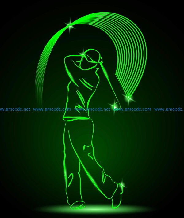 3D illusion led lamp golf player free vector download for laser engraving machines