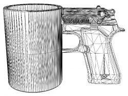 3D illusion led lamp gun mug free vector download for laser engraving machines