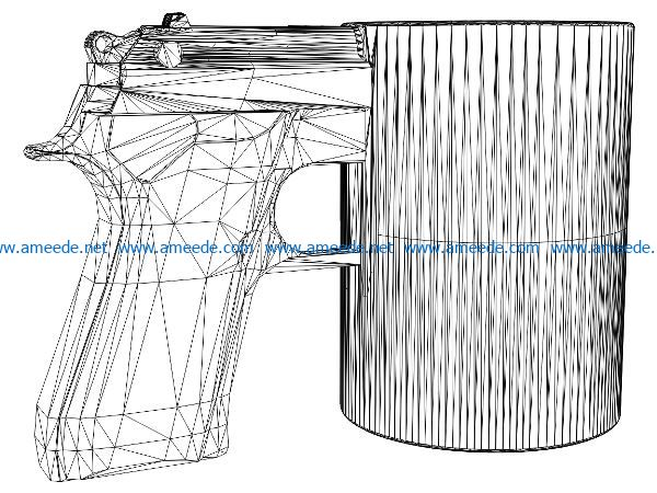 3D illusion led lamp gun shaped cup free vector download for laser engraving machines