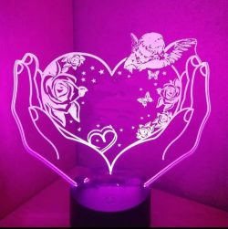 3D illusion led lamp heart and angel file cdr and dxf free vector download for laser engraving machines