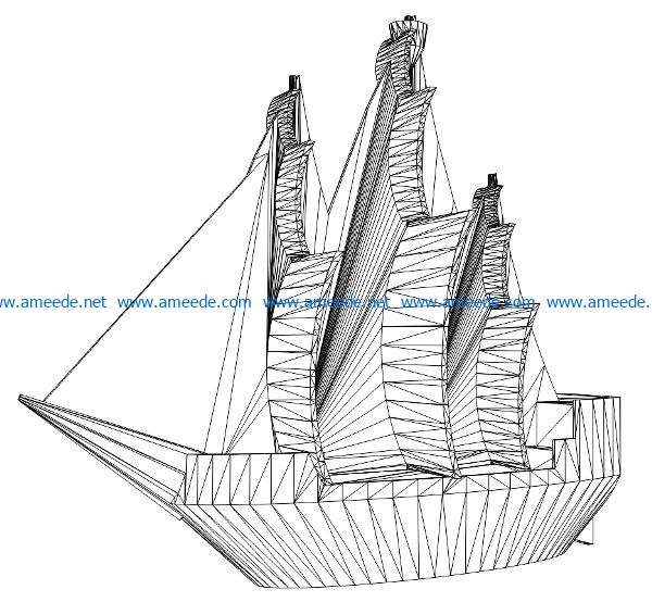 3D illusion led lamp pirate ship free vector download for laser engraving machines