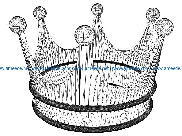 3D illusion led lamp royal crown free vector download for laser engraving machines