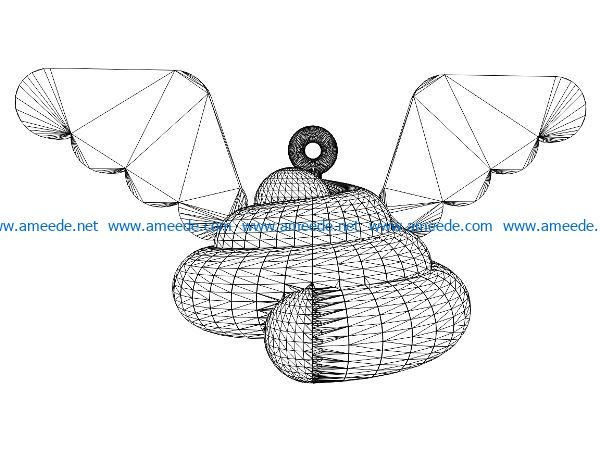 3D illusion led lamp shit with wings free vector download for laser engraving machines