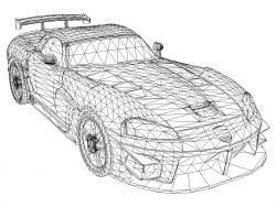 3D illusion led lamp super car model free vector download for laser engraving machines