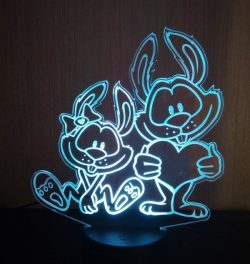 3D illusion led lamp two Rabbit file cdr and dxf free vector download for laser engraving machines