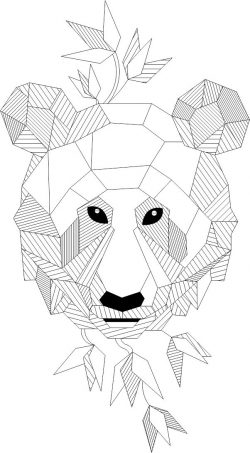 3D panda head file cdr and dxf free vector download for laser engraving machines