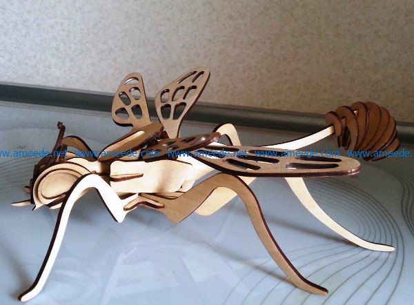 3D puzzle bee file cdr and dxf free vector download for Laser cut