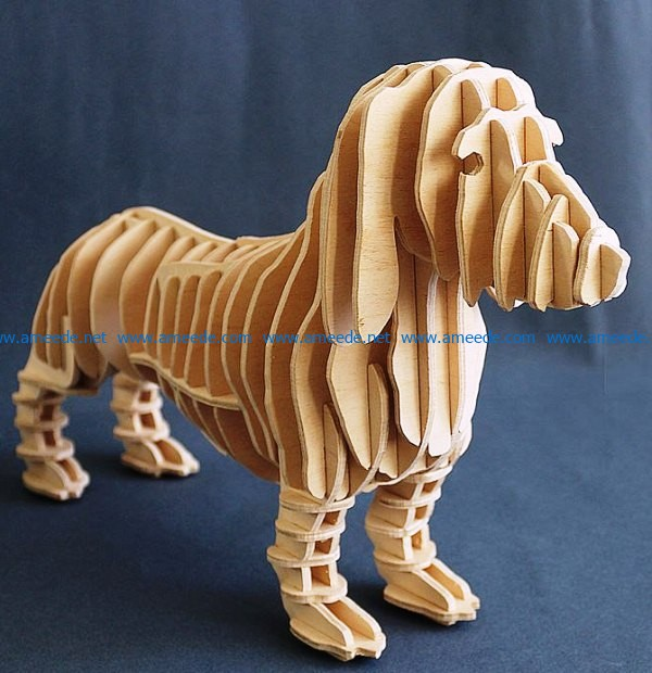 3D puzzle dog file cdr and dxf free vector download for Laser cut – Download Free Vector