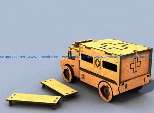 Ambulance file cdr and dxf free vector download for Laser cut