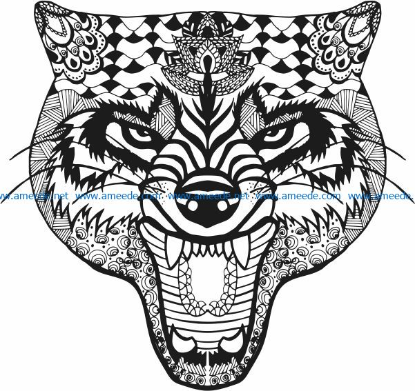 Angry wolf file cdr and dxf free vector download for print or laser engraving machines