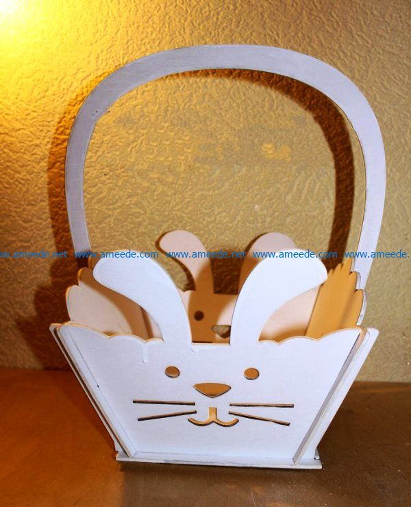 Basket of rabbit flowers file cdr and dxf free vector download for Laser cut