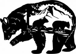 Bear and mountain file cdr and dxf free vector download for print or laser engraving machines