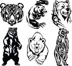 Bear file cdr and dxf free vector download for print or laser engraving machines