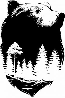 Bear with pine forest file cdr and dxf free vector download for print or laser engraving machines