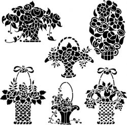 Beautiful flower baskets file cdr and dxf free vector download for print or laser engraving machines