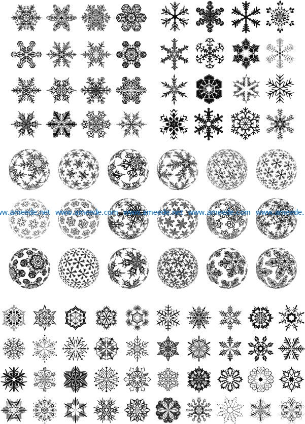 Beautiful snowflakes and snowballs file cdr and dxf free vector download for Laser cut